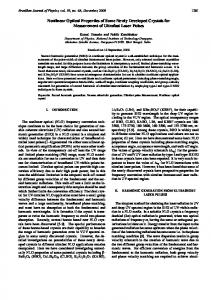 Nonlinear Optical Properties of Some Newly Developed Crystals for ...