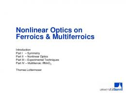 Nonlinear Optics on Ferroics & Multiferroics