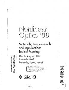 Nonlinear Optics'98