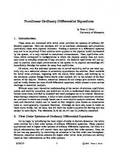 Nonlinear Ordinary Differential Equations - math.umn.edu