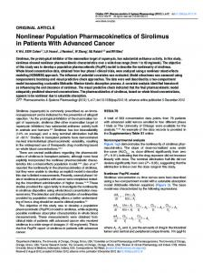 Nonlinear Population Pharmacokinetics of Sirolimus in ... - ASCPT