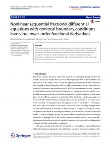 Nonlinear sequential fractional differential equations ... - Springer Link