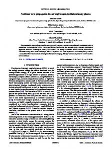 Nonlinear wave propagation in a strongly ... - APS Link Manager