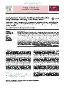 Nonmyeloablative Peripheral Blood Haploidentical Stem Cell ...