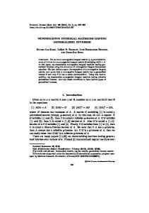 NONNEGATIVE INTEGRAL MATRICES HAVING GENERALIZED ...