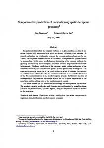 Nonparametric prediction of nonstationary spatio ... - TAMU Stat