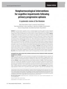 Nonpharmacological interventions for cognitive impairments following