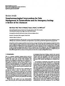 Nonpharmacological Interventions for Pain Management in ...