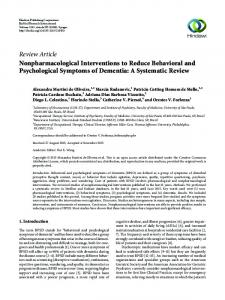 Nonpharmacological Interventions to Reduce Behavioral and ...