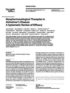 Nonpharmacological Therapies in Alzheimer's Disease: A Systematic ...