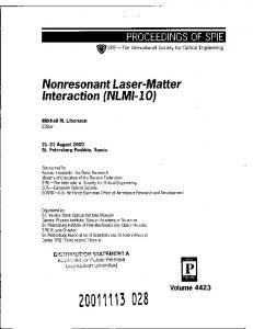 Nonresonant Laser-Matter Interaction (NLMI-10)