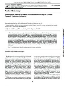 Nonselective Versus Targeted Outbreak Response ...