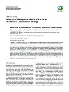 Nonsurgical Management of Oral Mucocele by Intralesional