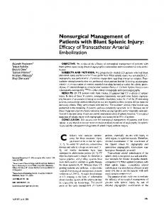 Nonsurgical Management of Patients with Blunt Splenic Injury: Efficacy ...