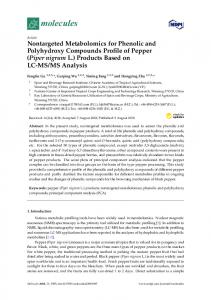 Nontargeted Metabolomics for Phenolic and Polyhydroxy ... - MDPI