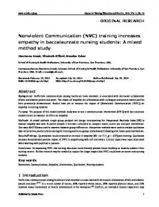 Nonviolent Communication (NVC) training increases empathy in