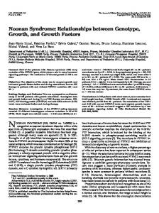 Noonan Syndrome: Relationships between Genotype, Growth, and ...