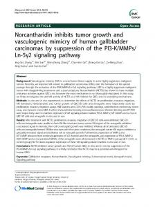 Norcantharidin inhibits tumor growth and ... - BioMedSearch