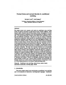 Normal forms and normal theories in conditional