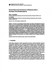 Normal Forms and the Structure of Resonance Sets in ... - CiteSeerX