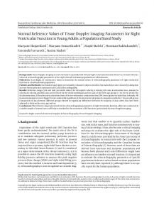 Normal Reference Values of Tissue Doppler Imaging Parameters for ...
