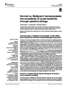 Normal vs. Malignant hematopoiesis: the complexity ...