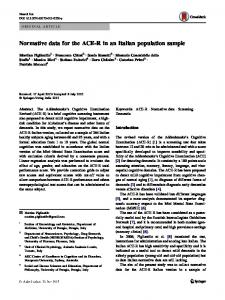 Normative data for the ACE-R in an Italian population