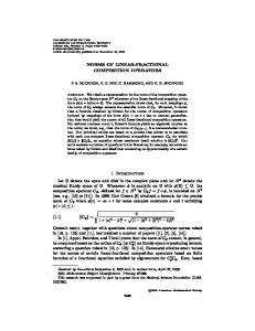 NORMS OF LINEAR-FRACTIONAL COMPOSITION OPERATORS 1 ...