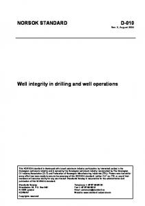 NORSOK STANDARD D-010 Well integrity in drilling and well ...