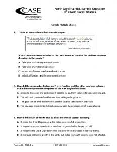 North Carolina MSL Sample Questions 8th Grade Social Studies