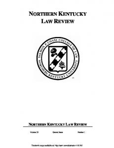NORTHERN KENTUCKY LAW REVIEW