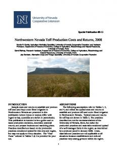 Northwestern Nevada Teff Production Costs and Returns, 2008