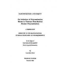 NORTHWESTERN UNIVERSITY On Initiation of Polymerization