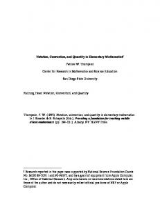 Notation, Convention, and Quantity in Elementary ... - Pat Thompson