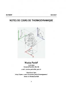 NOTES DE COURS DE THERMODYNAMIQUE Nicolas Pavloff