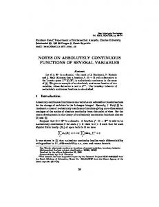 notes on absolutely continuous functions of several ... - Project Euclid