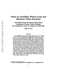 Notes on Euclidean Wilson loops and Riemann Theta functions arXiv ...