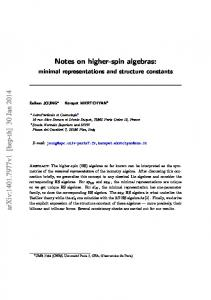 Notes on higher-spin algebras: minimal representations and structure ...