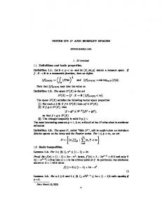 NOTES ON Lp AND SOBOLEV SPACES 1. Lp spaces