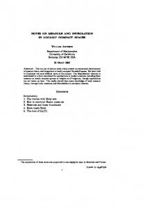 Notes on Measure and Integration in Locally Compact ... - Mathematics