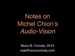 Notes on Michel Chion's Audio-Vision