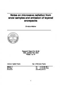 Notes on microwave radiation from snow samples and ... - CiteSeerX