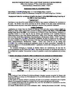 Notification with Application Form - East Coast Railway