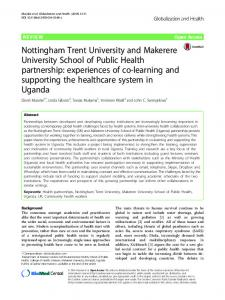Nottingham Trent University and Makerere University ... - BioMed Central