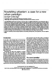 Nourishing urbanism: a case for a new urban paradigm