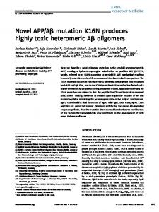 Novel APP/A mutation K16N produces highly ... - Wiley Online Library