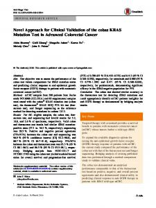 Novel Approach for Clinical Validation of the cobas KRAS Mutation ...