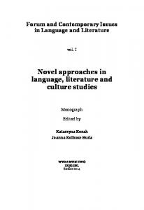 Novel approaches in language, literature and culture studies