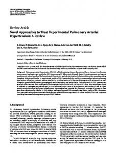 Novel Approaches to Treat Experimental Pulmonary Arterial ...