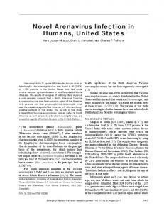 Novel Arenavirus Infection in Humans, United States - Centers for ...